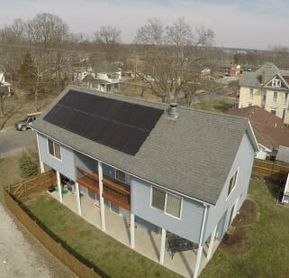 residential solar panels on a home