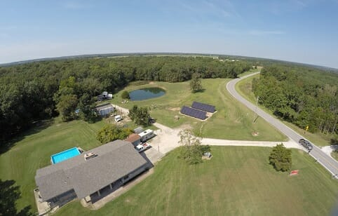 residential solar panels on home in country