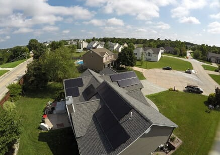 residential solar panels on suburban home